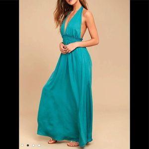 *SOLD* NWT Lulu's Boho Halter Teal Blue Maxi Dress